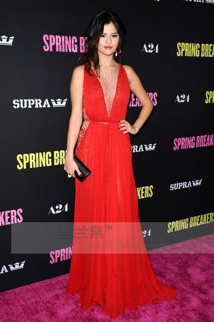 Selena Gomez Handmade Beading Red Evening Dress Celebrity Inspired