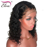 Curly Lace Front Human Hair Wigs Elva Hair Peruvian Remy Hair 360 Frontal Preplucked Bleached Knots For Women Baby Hair Lace Wig