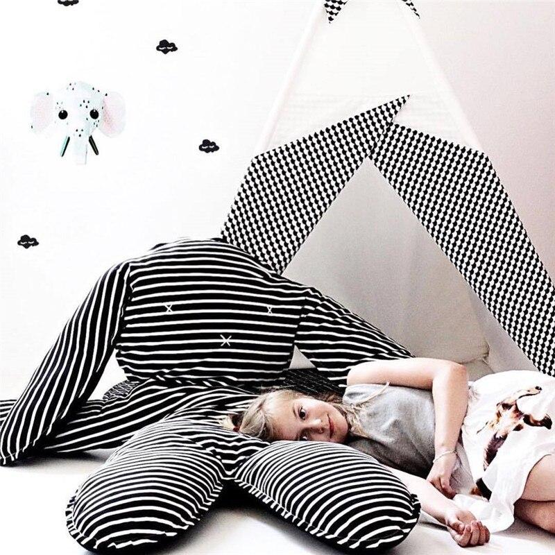 INS Cotton Rabbit Play Mat Black and white Striped Children Crawling Blanket Kids Rug Baby Sleeping Pillow Children Room Decor