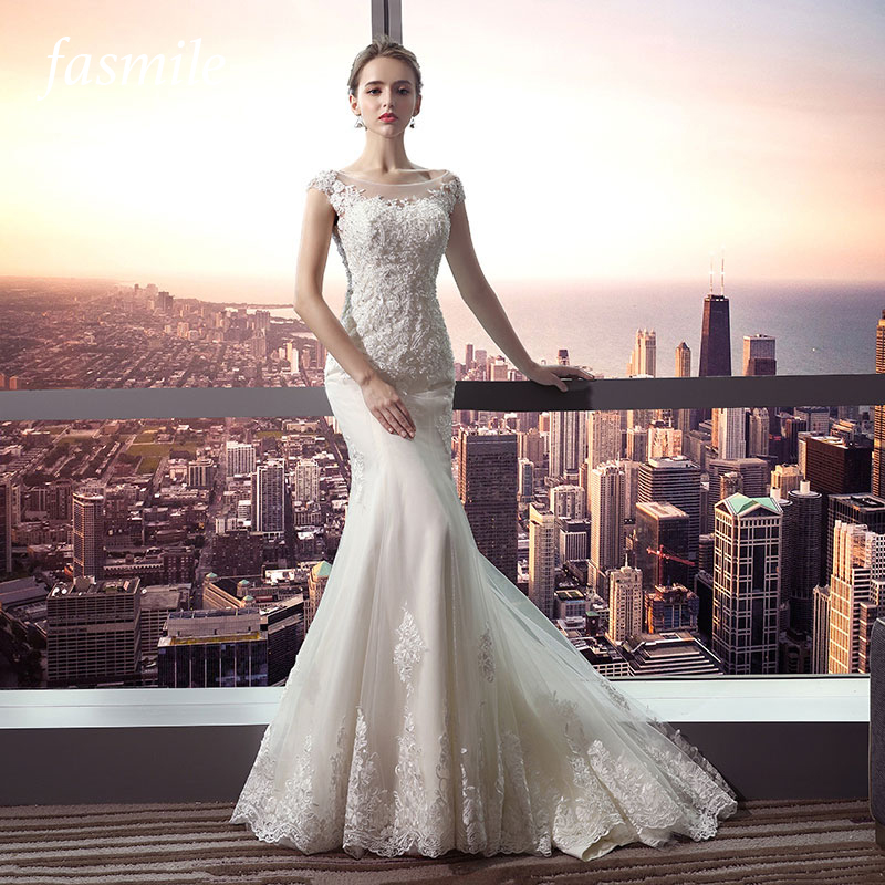 Fansmile New Arrival Vestido De Noiva Lace Mermaid Wedding Dress 2019 Customized Plus Size Wedding Gowns Bridal Dress FSM-484M