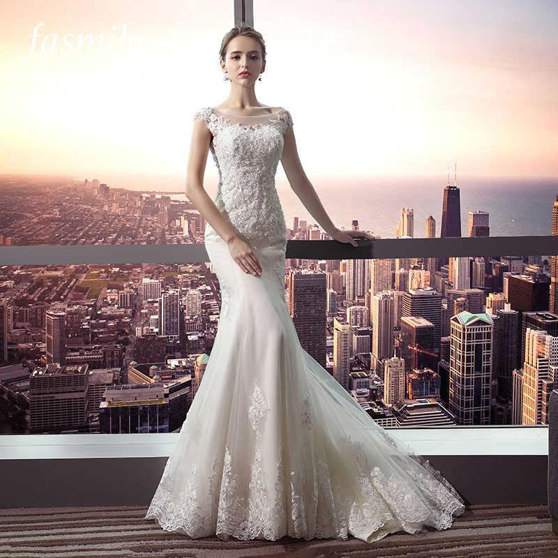 ef3f666d54134 Fansmile New Arrival Vestido De Noiva Lace Mermaid Wedding Dress 2019  Customized Plus Size Wedding Gowns