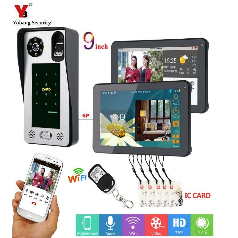 9 Inch Apartment Intercom Wired WiFi Video Door Phone Doorbell Intercom System 1000TVL Wire IR-CUT Camera Night Vision