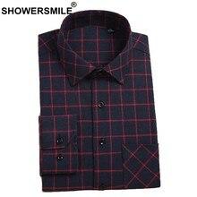 feb2effa32bc407 SHOWERSMILE мужская клетчатая рубашка Slim Fit Хлопок фланелевая рубашка  мужской британский красный клетчатая рубашка с длинным