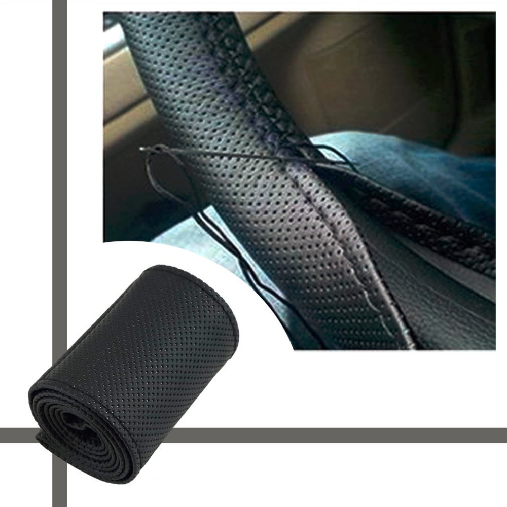 Steering-Wheel-Cover-Case Anti-Slip DIY Car with Needles And Thread Fit-For Diameter-36-38cm title=