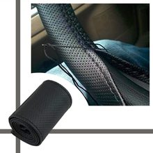 2020 novo antiderrapante respirável couro do plutônio diy volante do carro capa caso com agulhas e rosca apto para o diâmetro 36-38cm