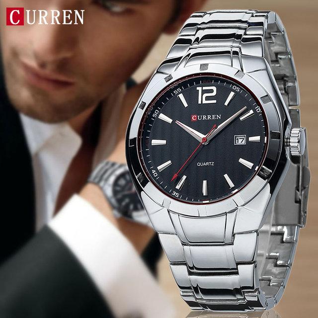 2017 cinta de aço inoxidável dos homens relógios top marca de luxo curren relógios esportes relógio de pulso à prova d' água relogio masculino xfcs