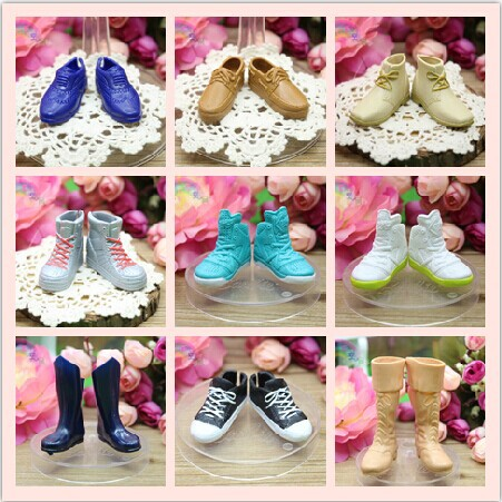 5 Pairs/lot  Mix Styles Multi-color Fashion Morden Genuine Doll Shoes Accessories Toy For Boyfriend Ken Doll Gift Free Shipping