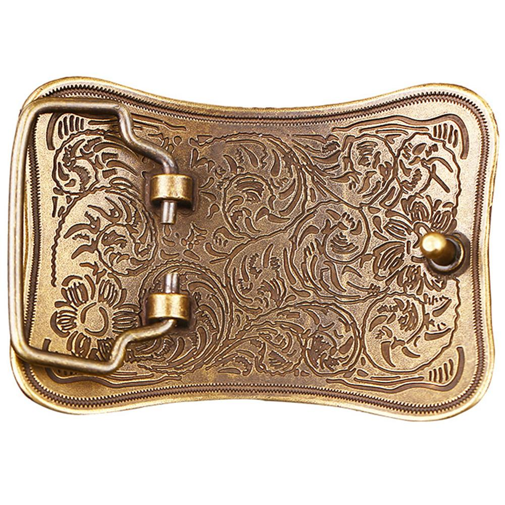 CUKUP Brand Belts Chinese Floral Styles Pattern 100% Solid Gold Brass Belt Buckles New Design 2018 3.8cm Smooth Buckle BRK025