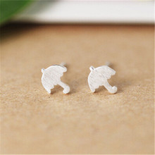 RONGQING 10Pairs/lot Silver Plated Copper Umbrella Stud Earring Women Tiny Cute Sisters Jewelry Gift Idea