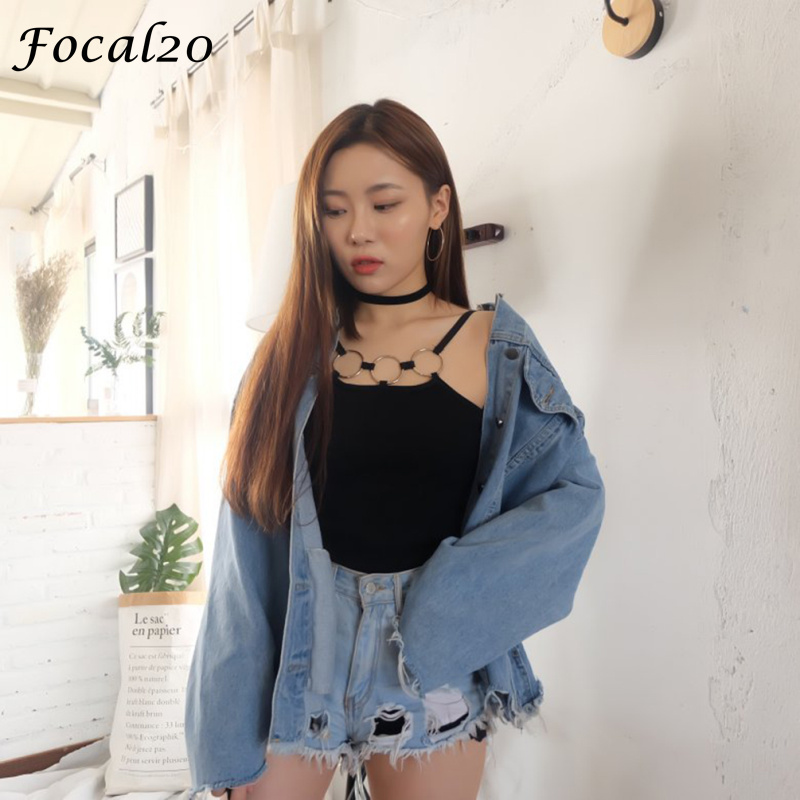 Focal20 Sexy Hollow Out Circle Ring Women Knitted Camis   Top   Summer Metal Ring Bodycon   Tank     Top   Streetwear Sun   Top