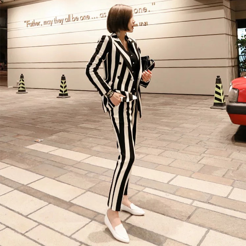 Nouveau mode femme noir blanc rayé pantalon dames à manches longues v-cou tempérament slim costume femmes confortable ensemble de haute qualité