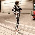 Nova moda feminina preto branco listrado calças senhoras manga cheia com decote em v temperamento magro terno feminino confortável conjunto de alta qualidade