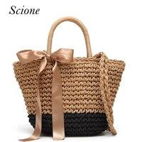 2017 Women's Beach Bag Ribbons Style Straw Handmade Weaving Shoulder Bags Summer Designer Ladies Solid Casual Shopping Bolsos