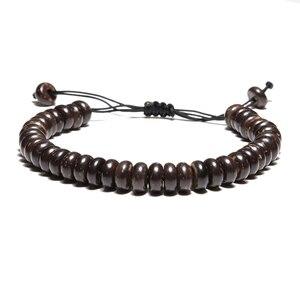 Image 3 - Noter pulsera minimalista de madera para Yoga para meditar y rezar, accesorios de joyería, Punk, Braslet, Buda, runas, brazalete trenzado