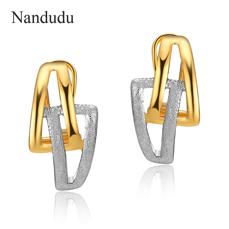 Nandudu Gold & Silver Color Special Design Stud Earrings Accessories Jewelry Gift for Christmas New Year Jewelry CE343