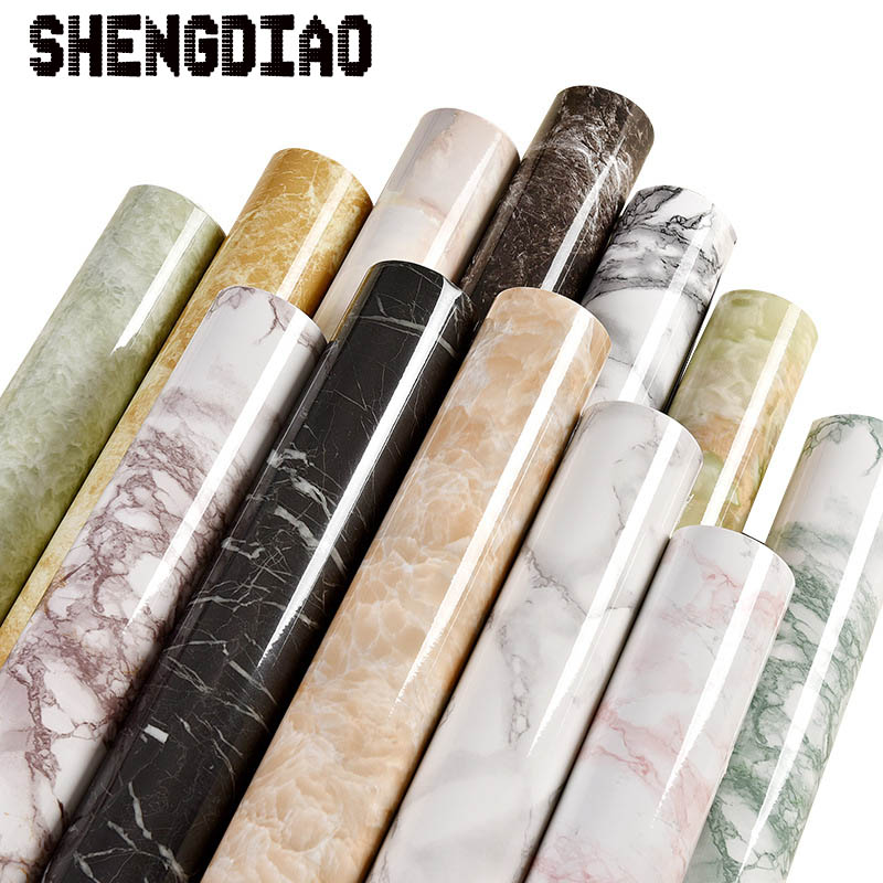 Thick waterproof pvc imitation marble pattern stickers wallpaper self-adhesive wallpaper renovation of furniture glossy pvc decorative film self adhesive wallpaper modern furniture renovation stickers kitchen cabinets waterproof wall paper