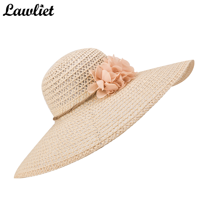 184388373f6 Large Wide Brim Sun Hat for Women Kentucky Derby Flower Straw Summer Hats  Ladies Floppy Beach Cap A261 -in Sun Hats from Apparel Accessories on ...