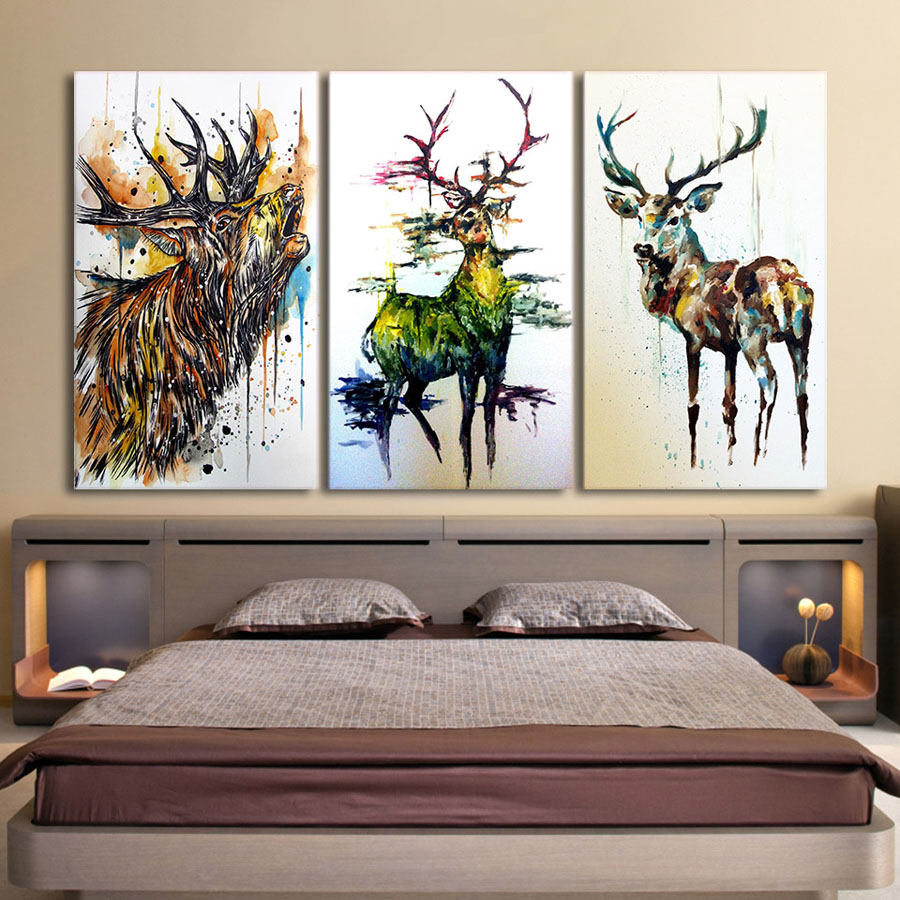 Graffiti Bedroom Art Paint Colors For Bedroom Youth Bedroom Sets Simple Little Boy Bedroom Ideas: Drop Shipping HD Printed 3 Piece Elk Graffiti Deer Canvas