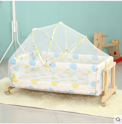 Baby cradle crib bed bed solid wood without lacquer table bb bed baby bed high quality solid wood children bed lengthen widen baby wooden bed combine big bed child kids baby crib