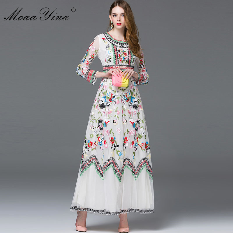MoaaYina Fashion Designer Dress Spring Women Long sleeve Embroidery Mesh Flowers Casual Retro Elegant Dress High