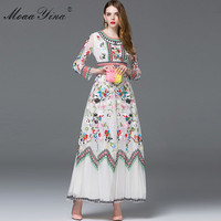 MoaaYina Fashion Designer Dress Spring Women Long sleeve Embroidery Mesh Flowers Casual Retro Elegant Dress High quality