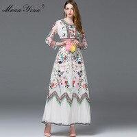MoaaYina Fashion Designer Dress Spring Women Long sleeve Embroidery Mesh Flowers Casual Retro Elegant Dress High quality