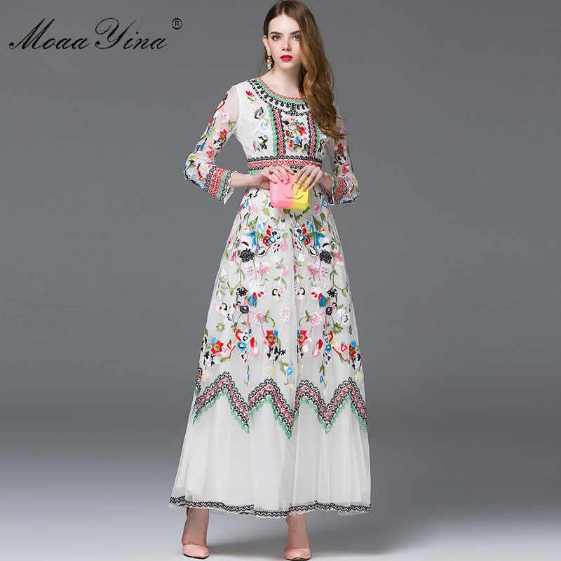 MoaaYina, модное дизайнерское платье, весеннее, женское, длинный рукав, вышивка, сетка, цветы, повседневное, Ретро стиль, элегантное платье, высокое качество