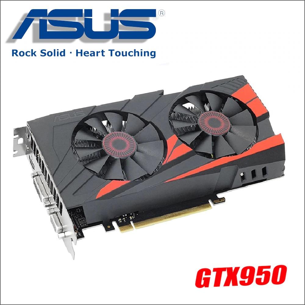 used ASUS PC Graphics Card Original GTX 950 2GB 128Bit GDDR5 Video Cards for nVIDIA VGA Cards Geforce GTX950 Hdmi Dvi game model aircraft