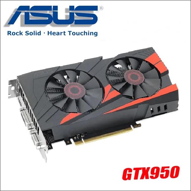 used ASUS PC Graphics Card Original GTX 950 2GB 128Bit GDDR5 Video Cards for nVIDIA VGA Cards Geforce GTX950 Hdmi Dvi game