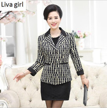 women's Blazer Fashion plaid printed jacket suits blaser ladies and mother's Winter office wearing Plus size Casual female wear