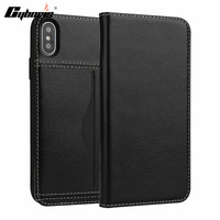 CYBORIS Luxury Business Top Genuine Leather Flip Case For IPhoneX 5 8 Ultra Slim Capa For