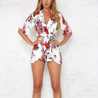 Summer 2017 Bohemian Style Print Floral Rompers Womens Jumpsuit Casual Beach Female Body Suit Playsuit Loose
