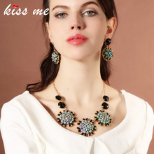 KISS ME Design Colorful Sequins Choker Necklace 2018 New Black Resin Beads Statement Necklace Brand Jewelry(China)