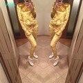 TAOVK 2016 новая мода Мягкий Велюр горчица Костюм Бархат Женщин Толстовки 2-х Частей Набор (Толстовка С Капюшоном + Длинные Брюки)