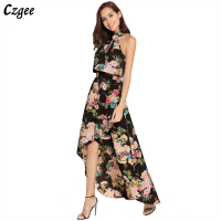 Czgee Sexy Women Girls Summer New Fashion Holiday Bohemian Floral Beach Chiffon Sleeveless Halter Lace Up Band Long Maxi Dress