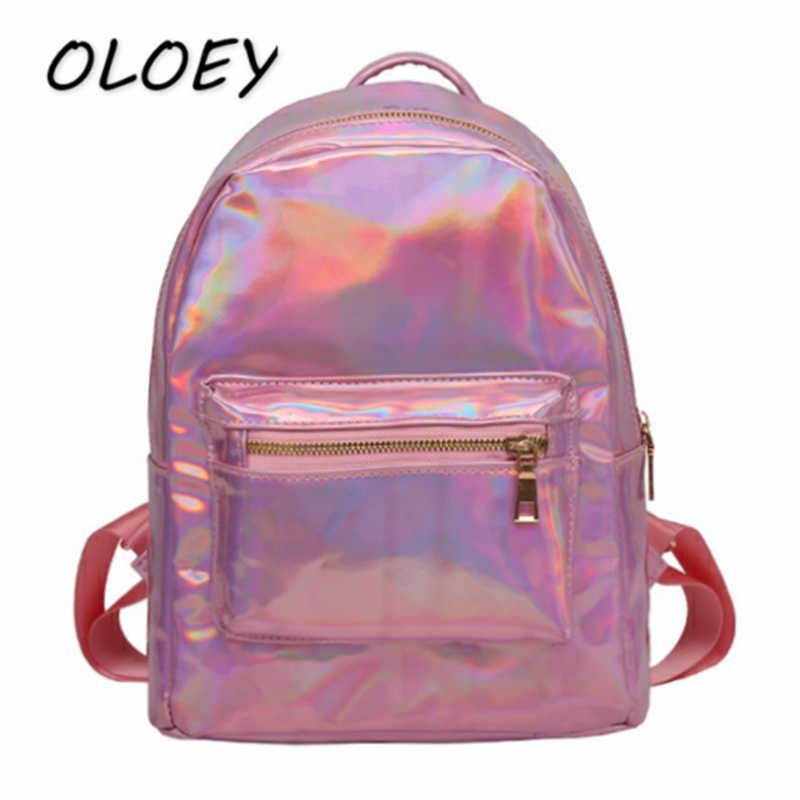 Женский лазерный мини-рюкзак из искусственной кожи с голографический дизайном Mochila женский студенческий элегантный дизайн Книга сумка дорожная сумка!