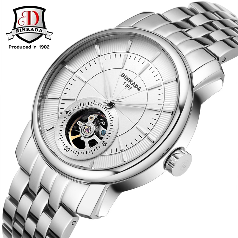 ⑧Original BINKADA marca alta calidad de lujo de plata reloj hombre ...