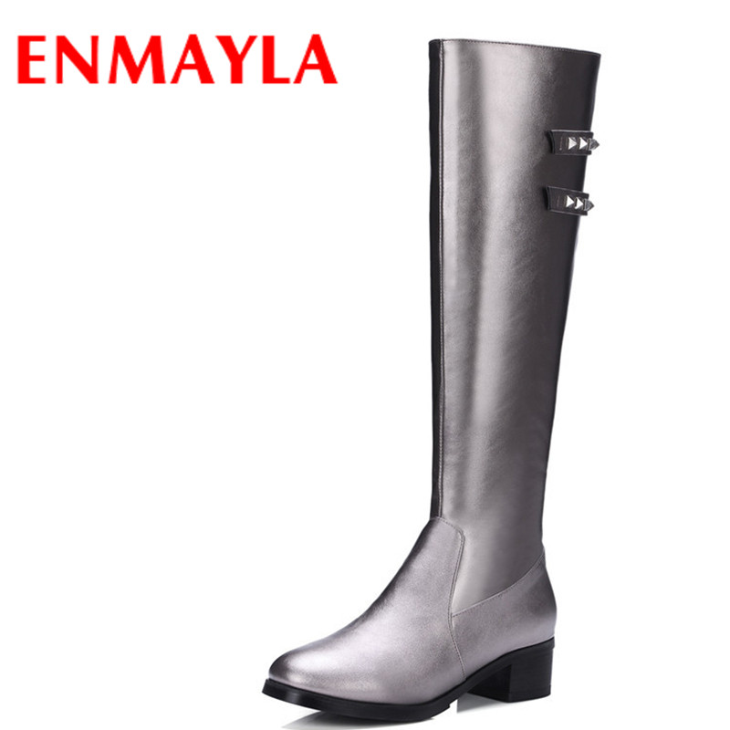 ENMAYLA New Autumn/Winter Women Shoes Woman Low Heels Boots Knee High Motorcycle Boots Rivets Big Size 34-43 Flats Knight Boots