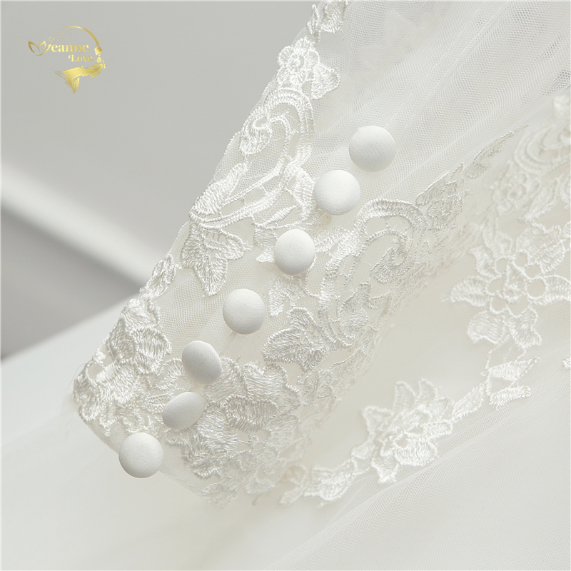 V Neck Backless Lace Long Sleeves White Wedding Dress