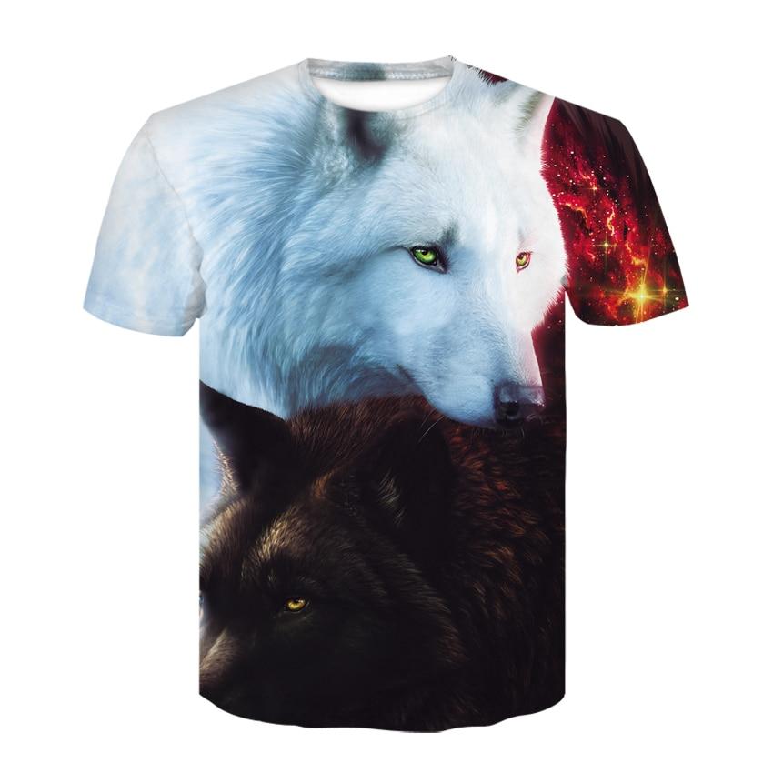 2018 Newest Harajuku Wolf 3D Print Cool T-shirt Men/Women Short Sleeve Summer Tops Tees T shirt Fashion M-5XL