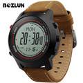 BOZLUN MG03 Men Digital Sport Watch Compass Leather Weather Forecast  Multi-Time Zone Waterproof Wristwatches Relogio Masculino