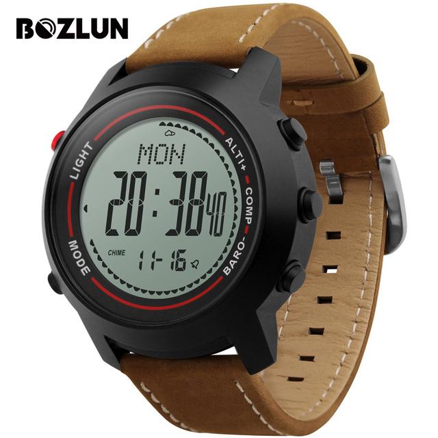 Bozlun mg03 hombres reloj deportivo digital de cuero brújula pronóstico del tiempo de múltiples zona horaria relojes a prueba de agua relogio masculino