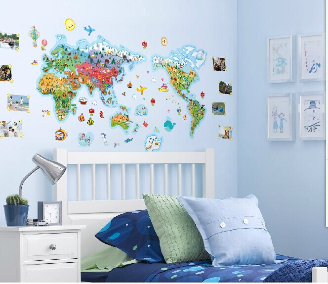 large cartoon world map wall stickers for kids room children wallpaper