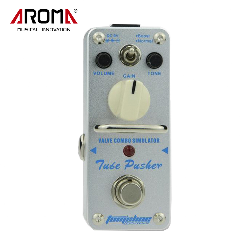 AROMA ATP-3 Tube Pusher Valve Combo Simulator Electric Guitar Effect Pedal True Bypass Guitarra Part& Accessory aroma adr 3 dumbler amp simulator guitar effect pedal mini single pedals with true bypass aluminium alloy guitar accessories