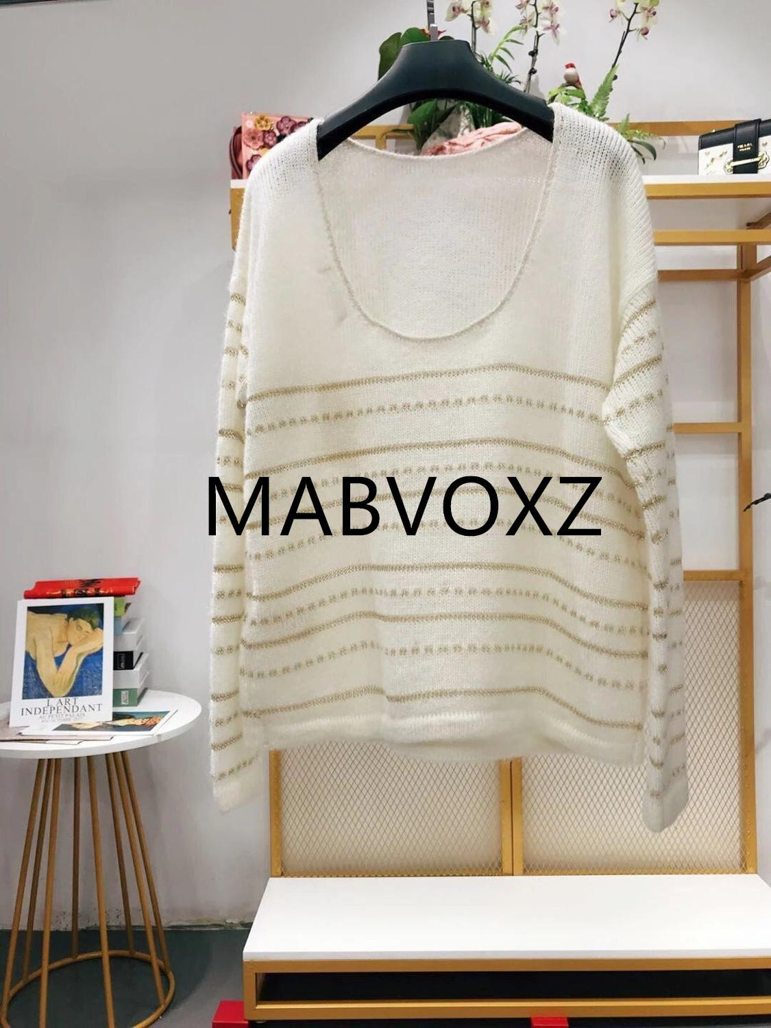 2019 New Women Striped Mohair Sweater Deep U Backless Sexy Gold Line Soft Pull Top