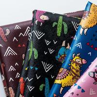 100x135cm Cute Alpaca Cartoon Design Printed Faux Leather Fabric Pink Leather Fabric For Bow Telas De Cuero Lederimitat Stoff