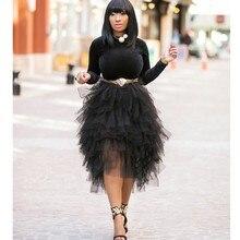Шикарная Асимметричная фатиновая юбка с оборками для леди, черная юбка со складками многоуровневый, высокая, низкая, длина до середины икры, фатиновая юбка для женщин, эластичная юбка-пачка, Saias