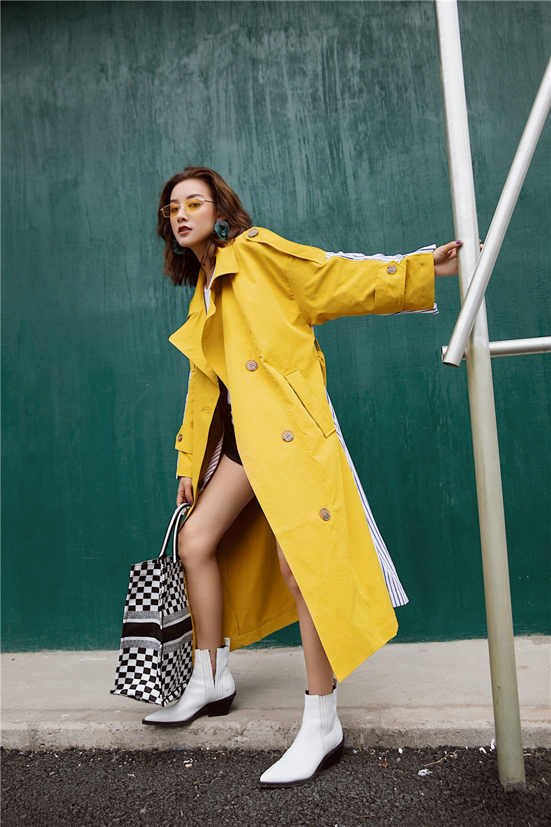 Korean Women Clothes 18 Autumn Windbreaker Female Long Coat New Style Striped Stitching Yellow Winter Trench Coat 3