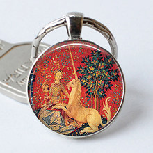 Lady and The Fly Horse Keychain Fly Horse Tapestry Keyring Fly Horse Cabochon Renaissance Jewelry Glass Faire, Key Ring Chain(China)