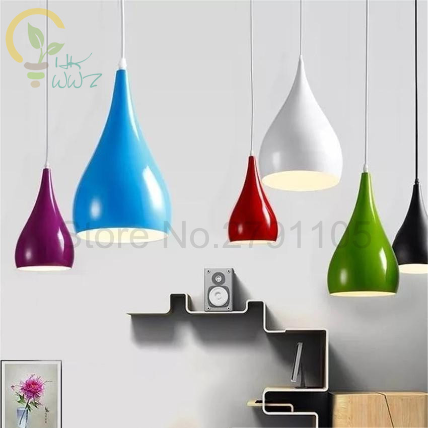 7 Colour E27 Aluminum Lampshade Lighting Fixtures Hanging Lamp Modern Simple Pendant Lights for Restaurant Living Room luminaire7 Colour E27 Aluminum Lampshade Lighting Fixtures Hanging Lamp Modern Simple Pendant Lights for Restaurant Living Room luminaire